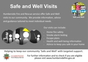 Safe and Well visits information poster